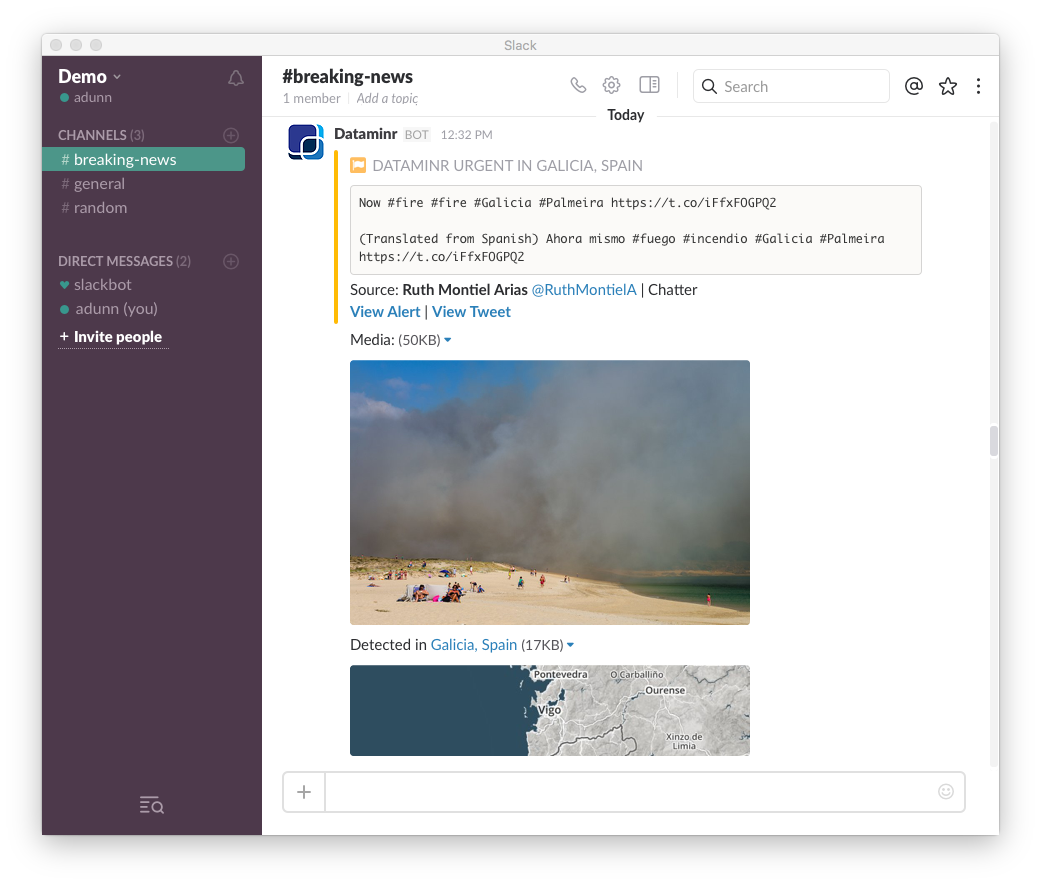 Dataminr for News Slack App